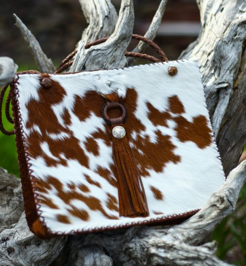 E brown and white hair-on tote