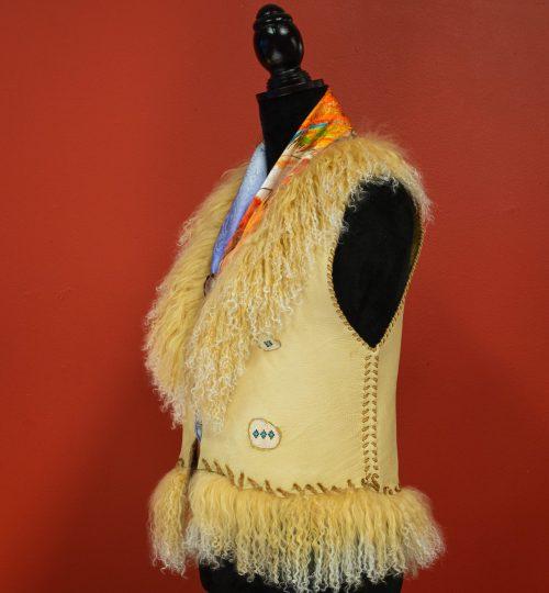 leather vest pendleton tibetan lamb